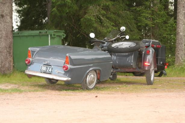 Ford Anglia Saloon based Trailer behind Motorcycle